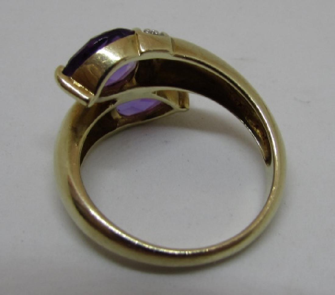 3CT TWIN AMETHYST DIAMOND RING 14K GOLD SIZE 8 - 4
