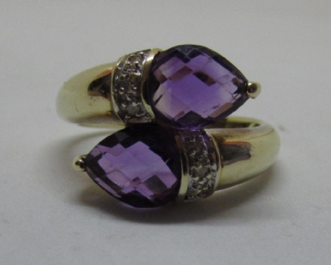 3CT TWIN AMETHYST DIAMOND RING 14K GOLD SIZE 8 - 5