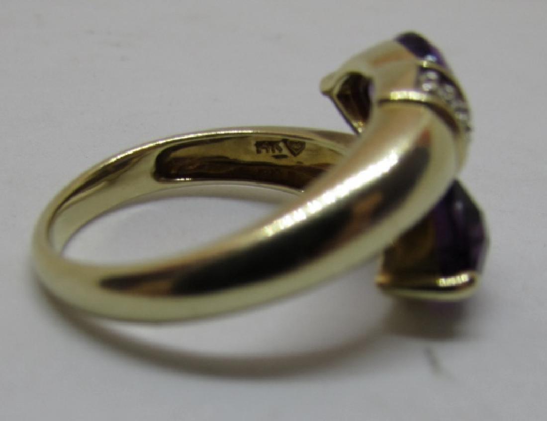 3CT TWIN AMETHYST DIAMOND RING 14K GOLD SIZE 8 - 6