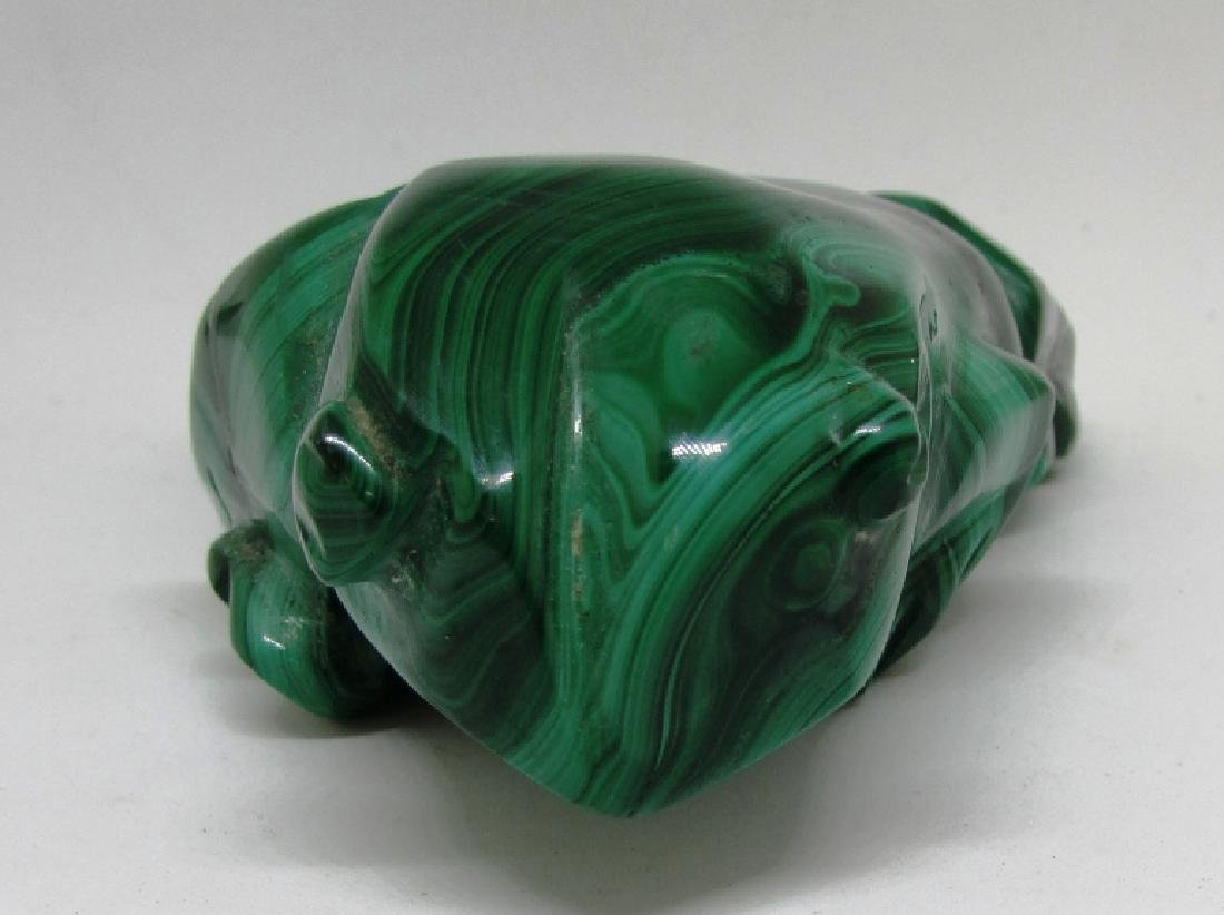 CARVED MALACHITE STONE FROG - 2