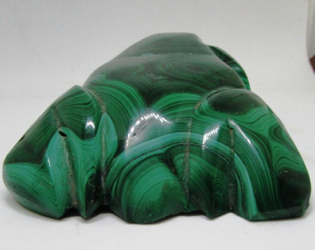 CARVED MALACHITE STONE FROG - 4