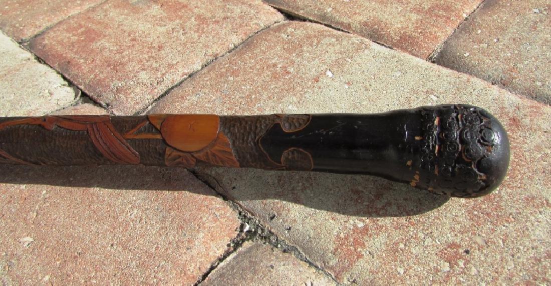 CARVED WOOD WALKING CANE STICK BAMBOO BIRD ORANGE - 2