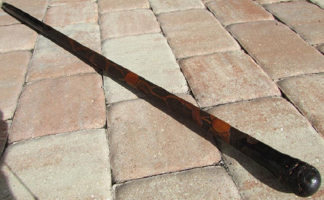 CARVED WOOD WALKING CANE STICK BAMBOO BIRD ORANGE - 3