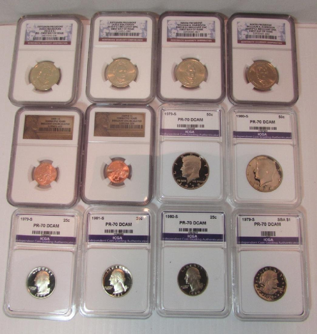 12 CERTIFIED US COINS MS 69 70