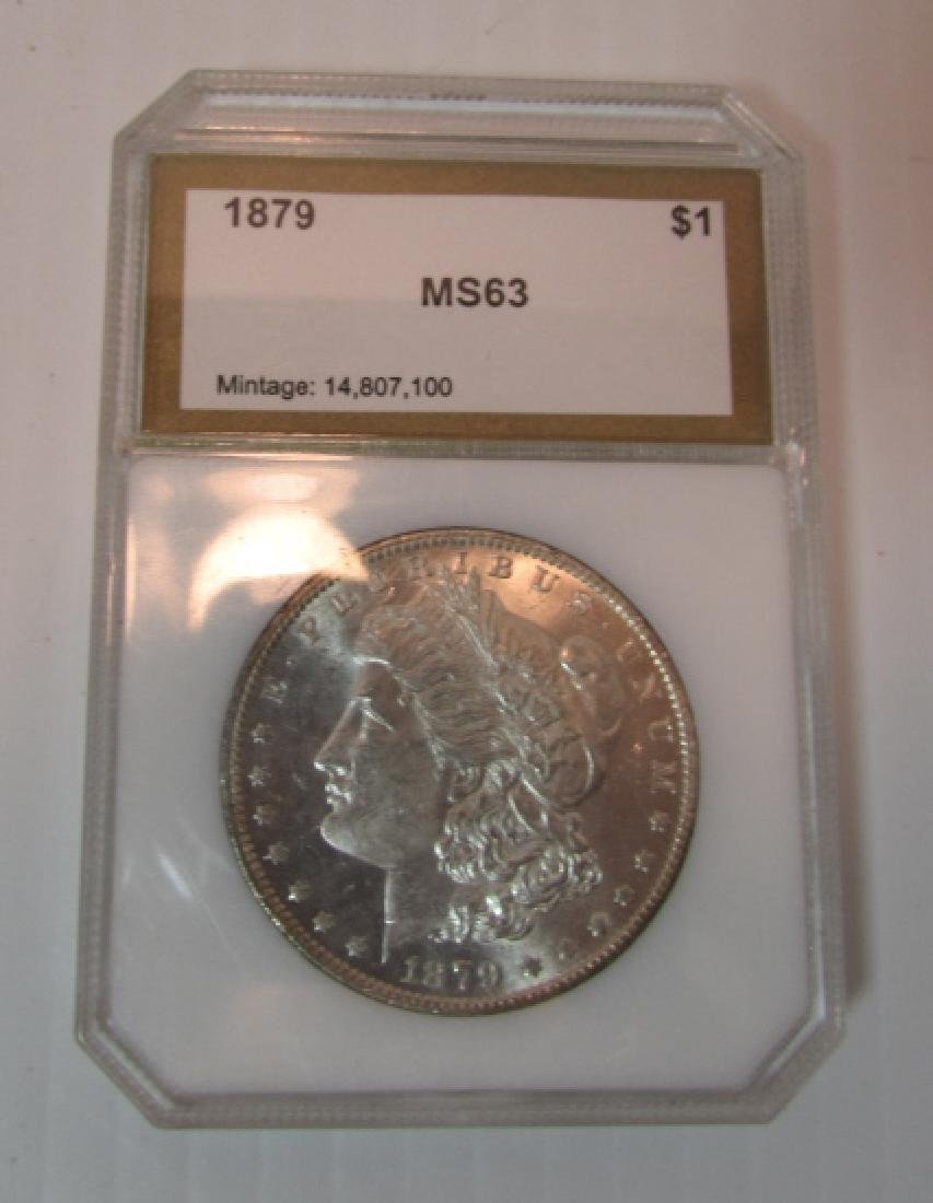 1879 US  MORGAN SILVER DOLLAR MS 63 PCI COIN