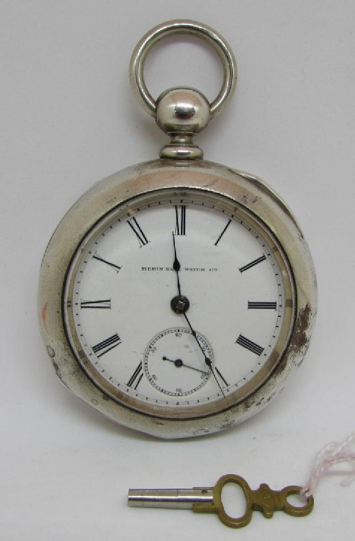 ELGIN KEY WIND POCKET WATCH COIN SILVER ILLINOIS