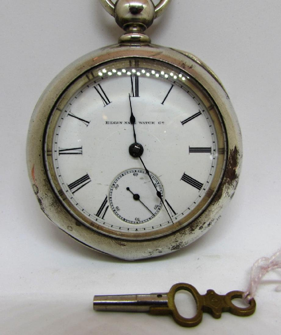 ELGIN KEY WIND POCKET WATCH COIN SILVER ILLINOIS - 2