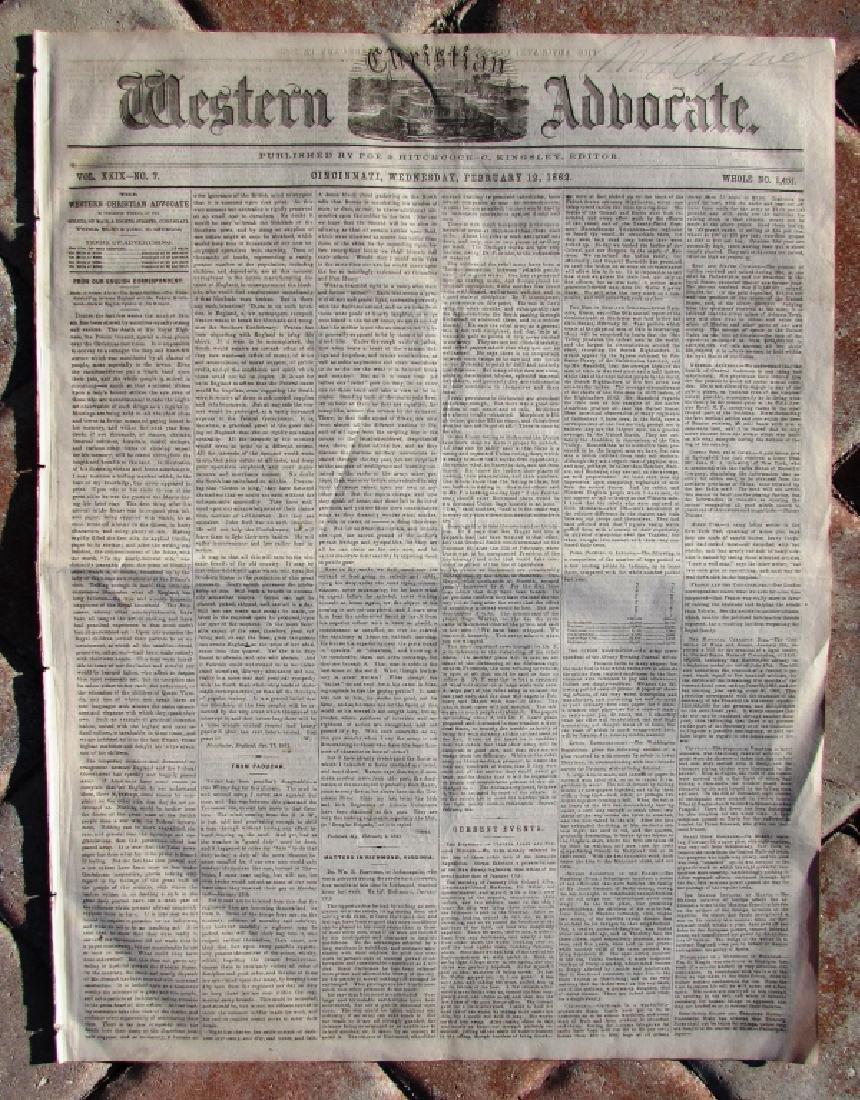 CIVIL WAR ERA CHRISTIAN WESTERN ADV NEWSPAPER 1862