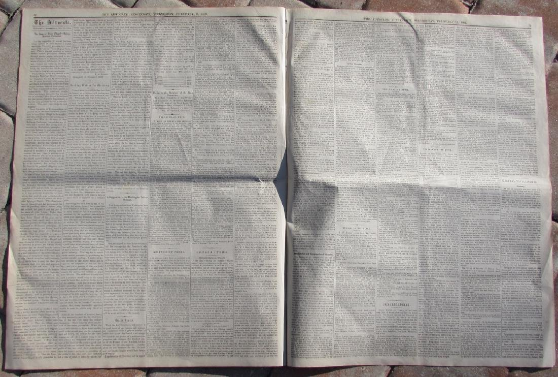 CIVIL WAR ERA CHRISTIAN WESTERN ADV NEWSPAPER 1862 - 3