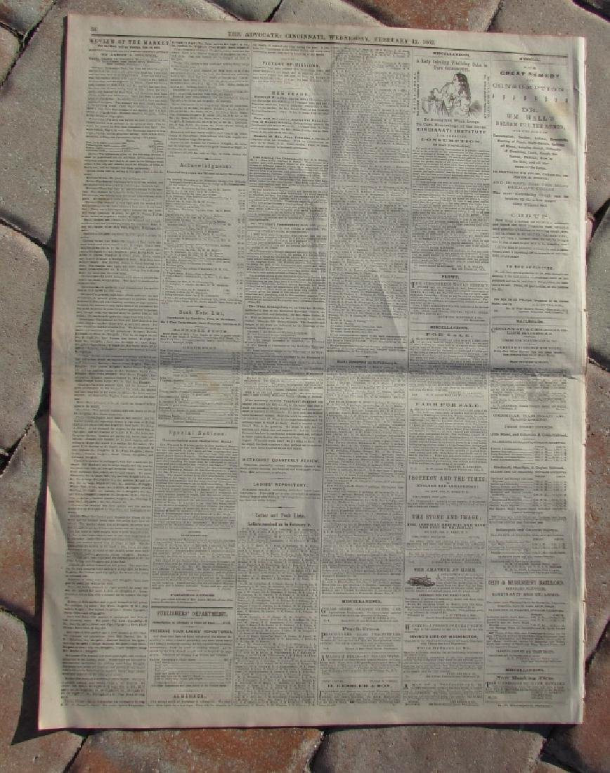 CIVIL WAR ERA CHRISTIAN WESTERN ADV NEWSPAPER 1862 - 5
