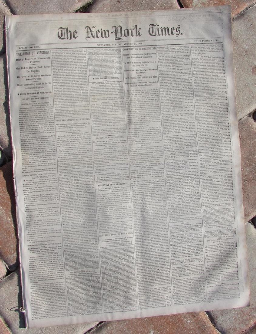 CIVIL WAR ERA NEW YORK TIMES NEWSPAPER 1862 XI