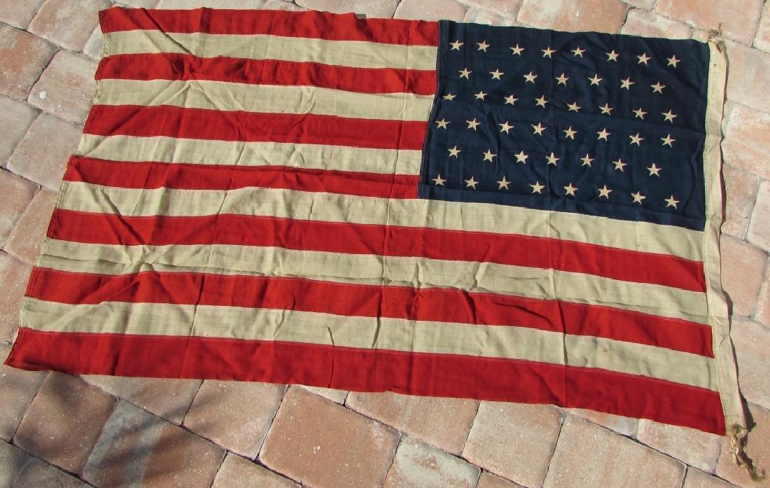ANTIQUE US STANDARD 46 STAR FLAG SEWN COTTON - 2