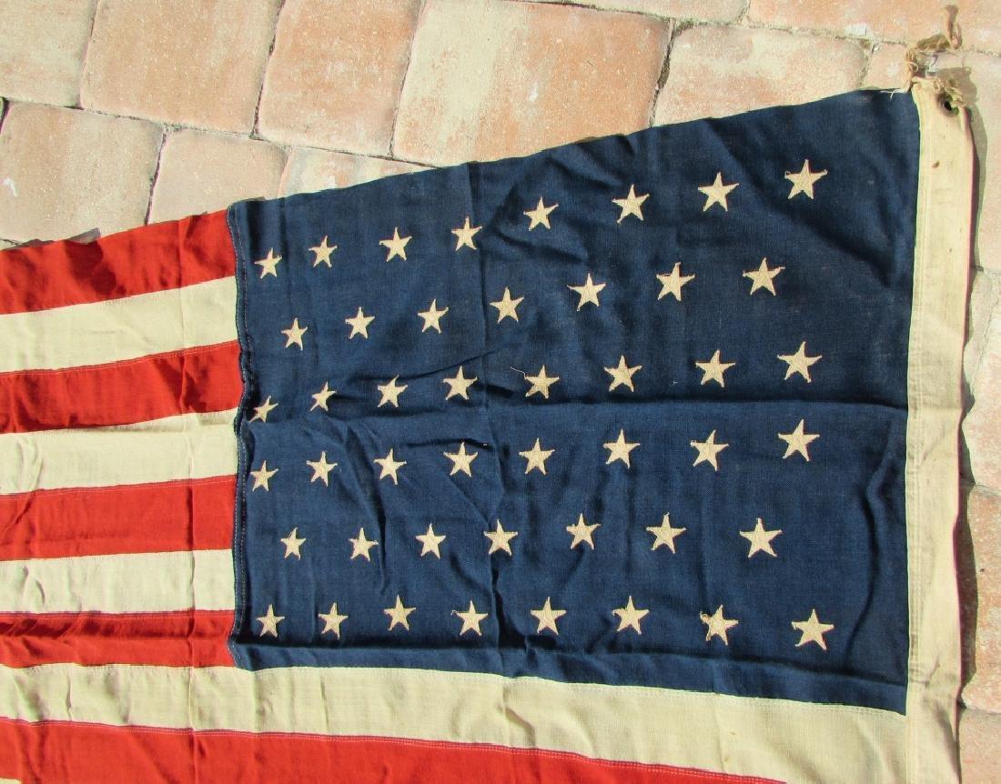 ANTIQUE US STANDARD 46 STAR FLAG SEWN COTTON - 3