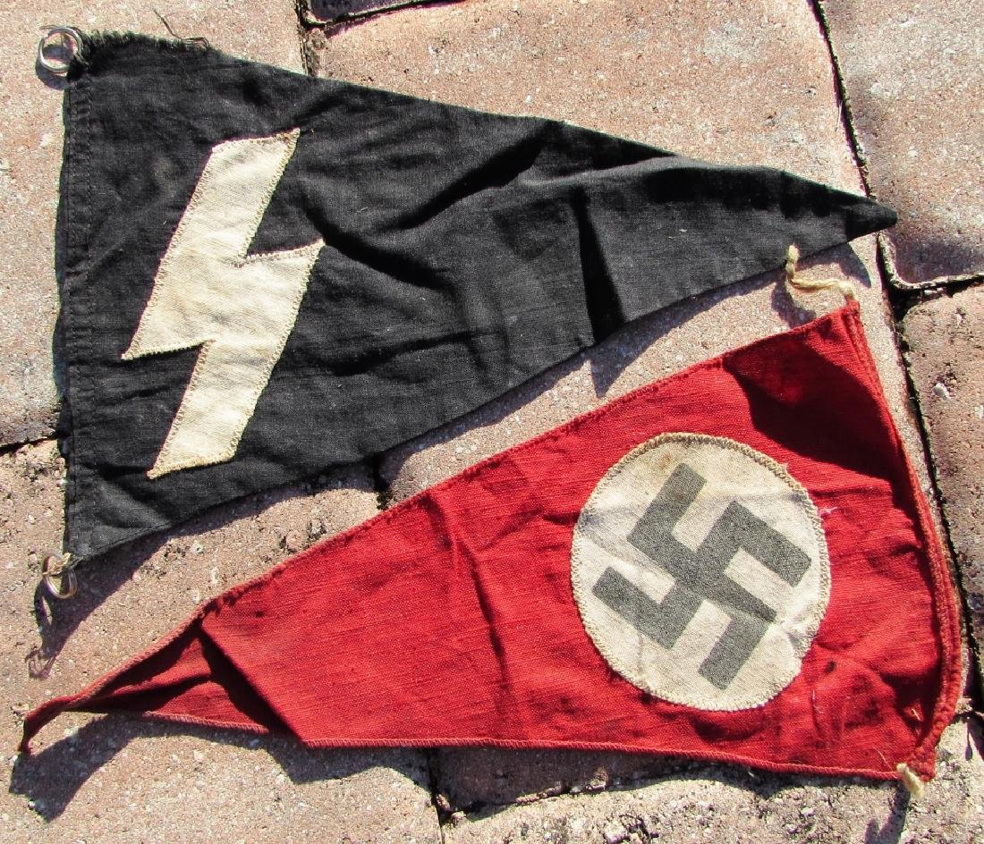 2 WWII NAZI PARTY TRIANGLE FLAGS SS YOUTH SWASTIKA