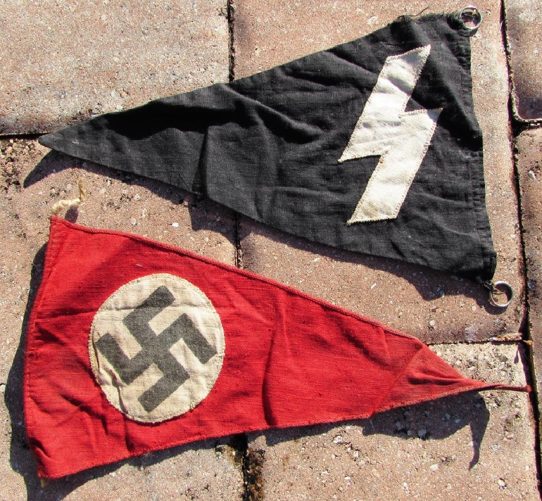 2 WWII NAZI PARTY TRIANGLE FLAGS SS YOUTH SWASTIKA - 2