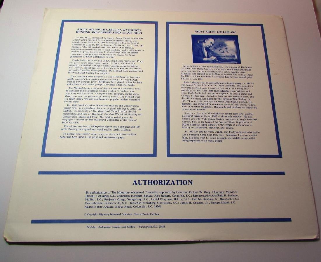 US SC 1981 DUCK PRINT, STAMP & FOLIO LEE LEBLANC - 6