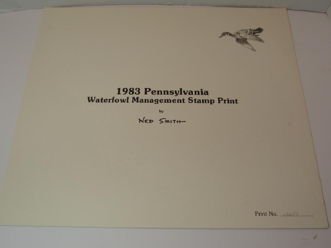 US PENN 1983 DUCK PRINT STAMP & FOLIO NED SMITH PA - 4