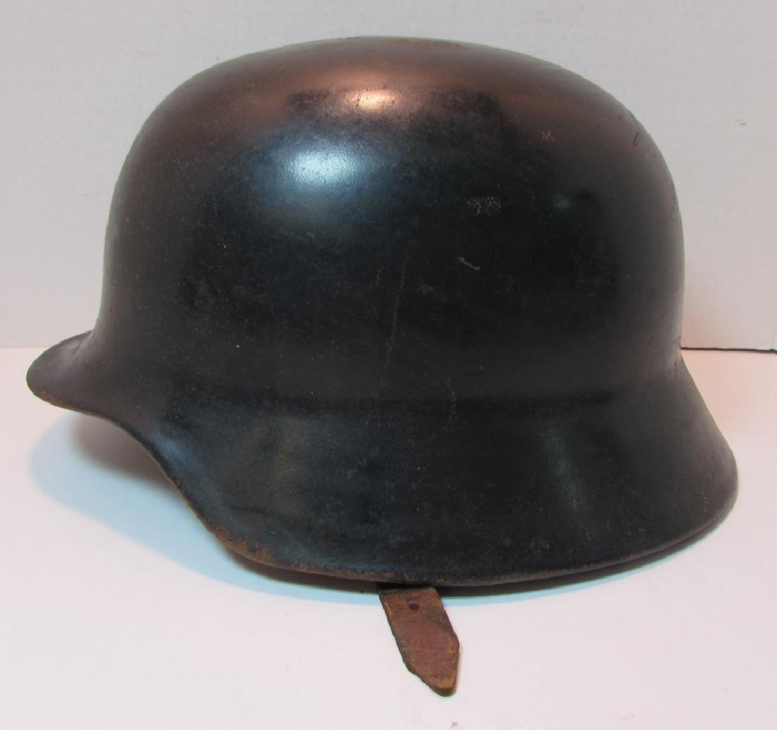 WWII ERA M35 GERMAN HELMET w LEATHER LINER & STRAP