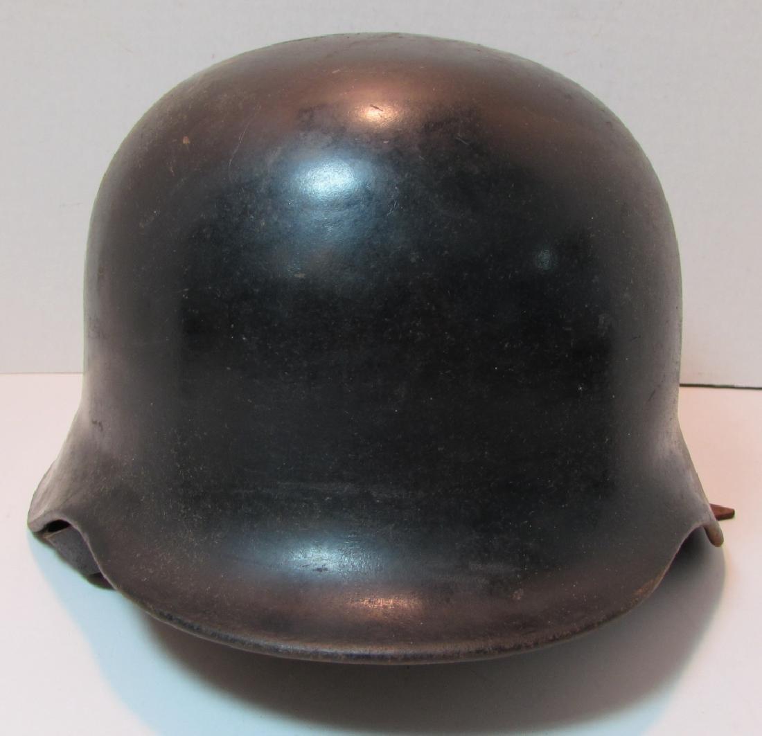 WWII ERA M35 GERMAN HELMET w LEATHER LINER & STRAP - 2
