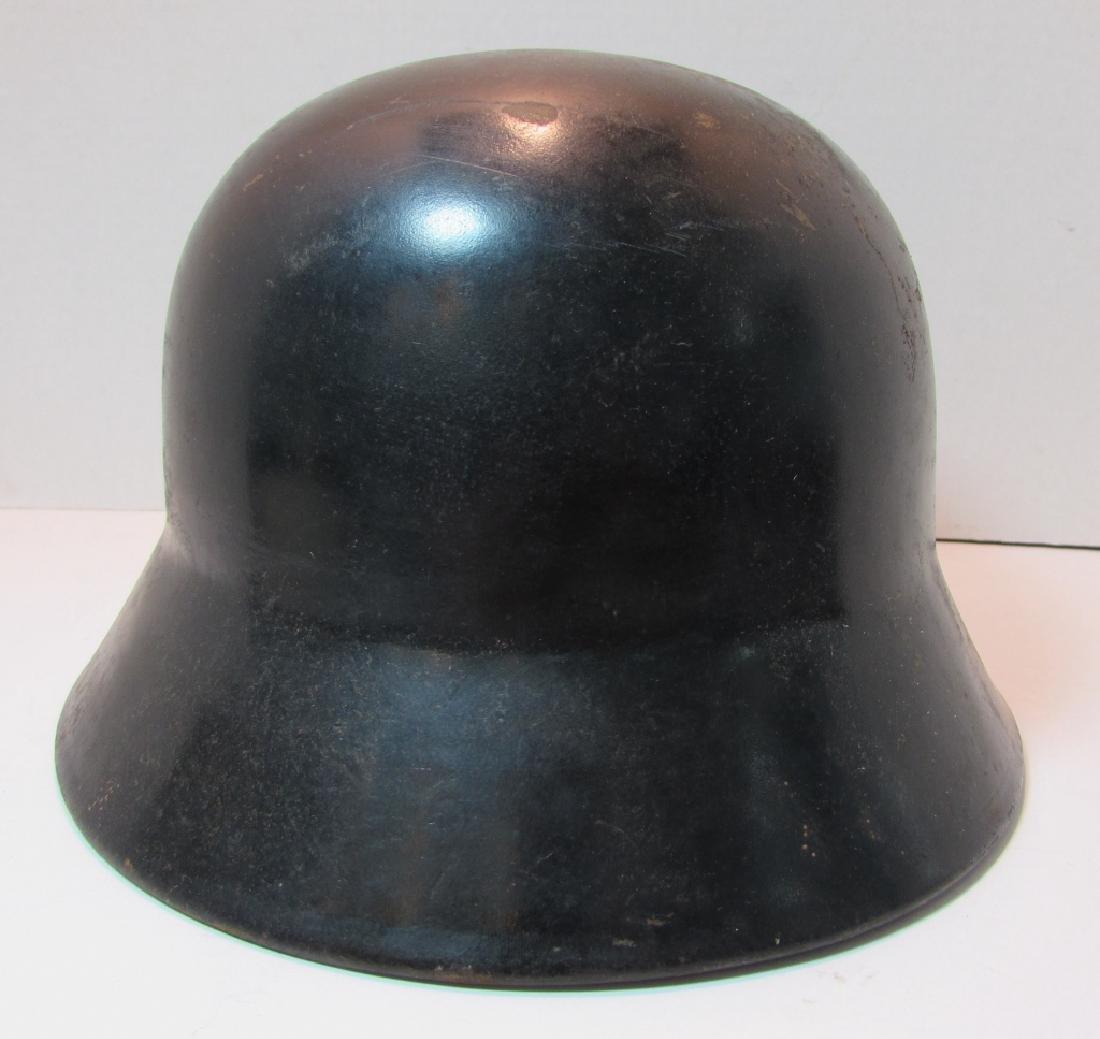 WWII ERA M35 GERMAN HELMET w LEATHER LINER & STRAP - 4