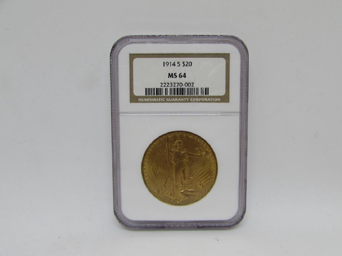 1914 S $20 MS64 GOLD DOUBLE EAGLE ST GAUDENS COIN