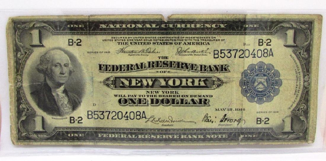 FEDERAL RESERVE BANK $1 NATL 1918 NOTE CURRENCY NY