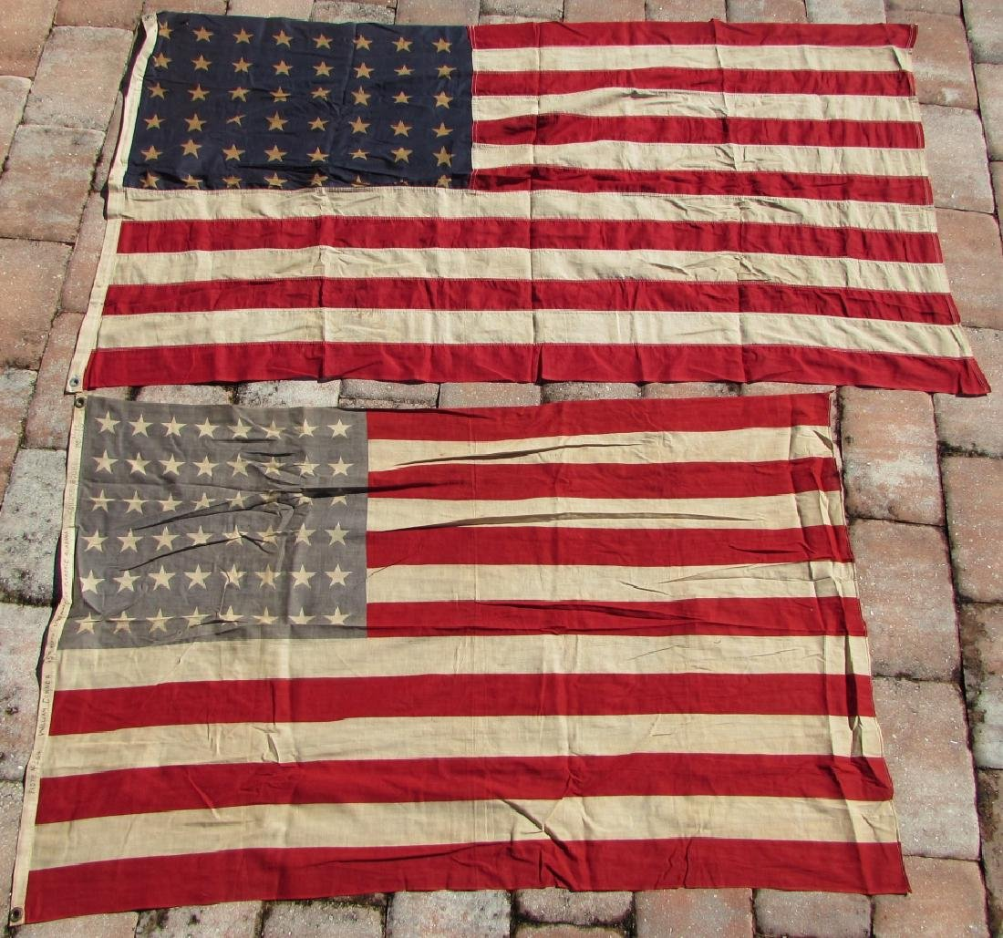 2 AMERICAN USA FLAGS 48 STAR 1 NAMED COTTON