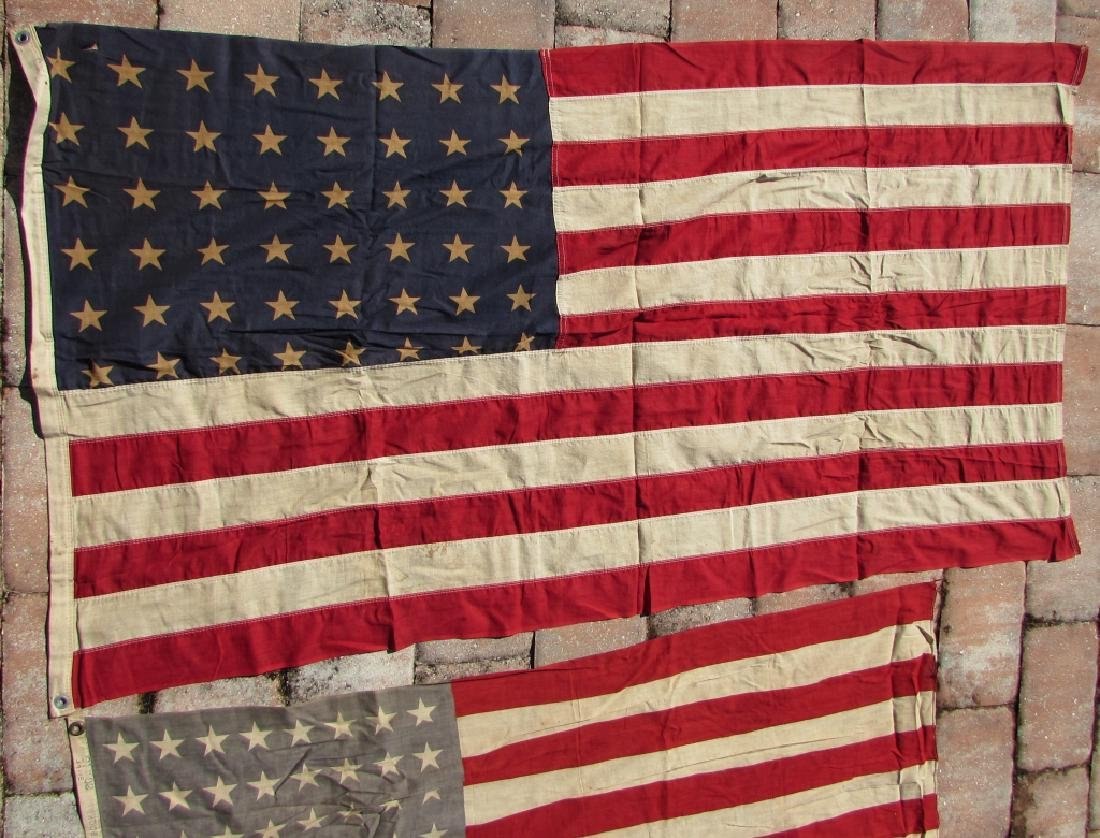 2 AMERICAN USA FLAGS 48 STAR 1 NAMED COTTON - 2