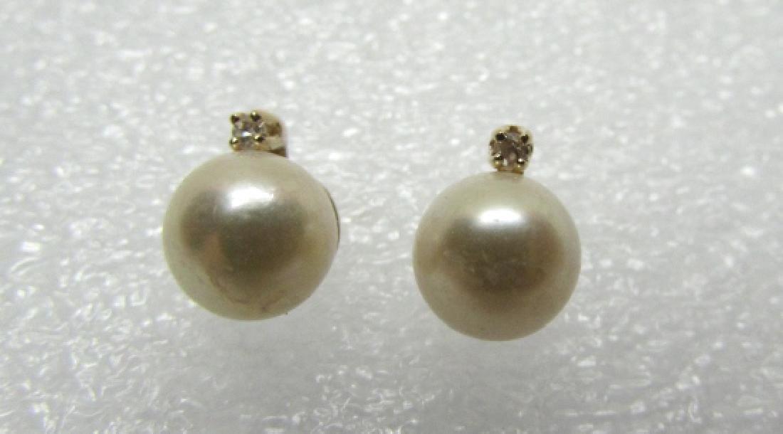 7MM PEARL DIAMOND EARRINGS 14K GOLD