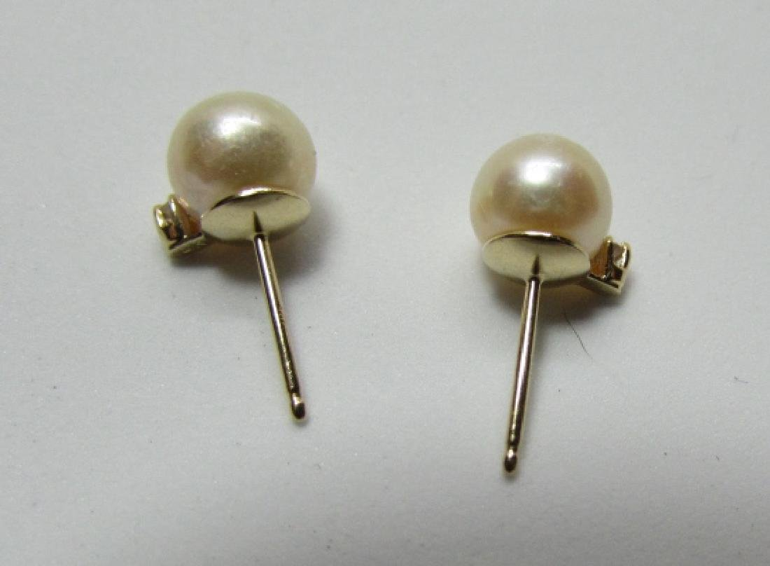 7MM PEARL DIAMOND EARRINGS 14K GOLD - 2