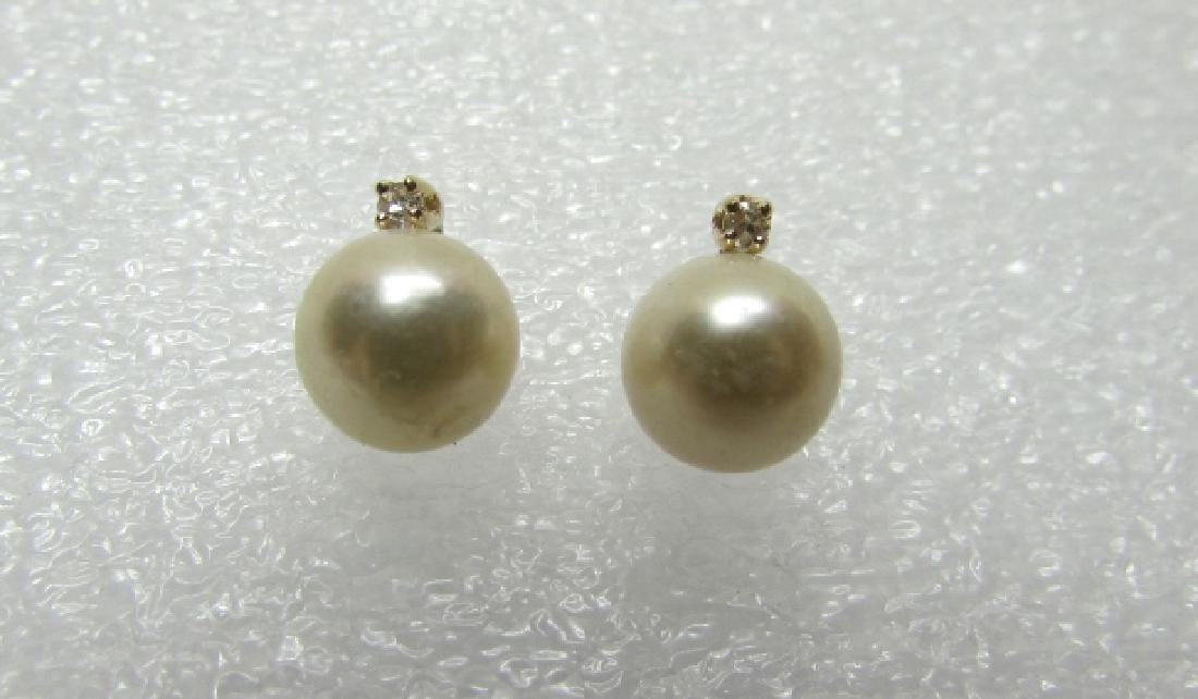 7MM PEARL DIAMOND EARRINGS 14K GOLD - 3