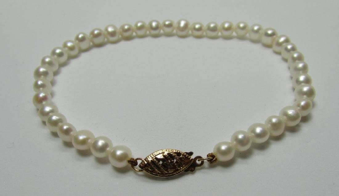 "4-5MM PEARL BRACELET 14K GOLD 7 1/4"" - 3"