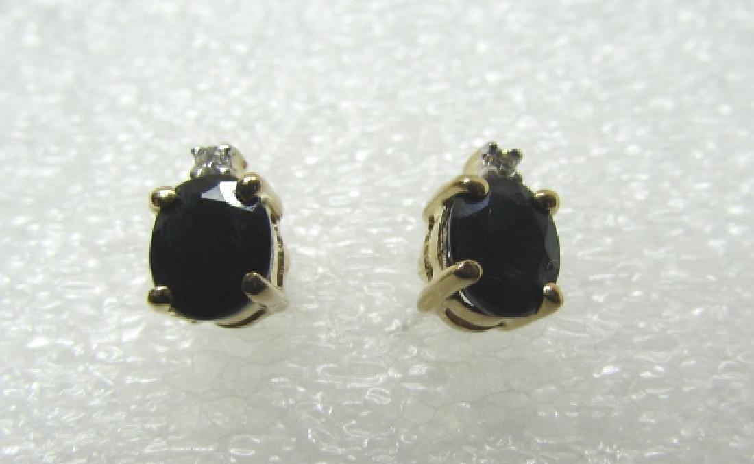 SAPPHIRE DIAMOND EARRINGS 14K GOLD