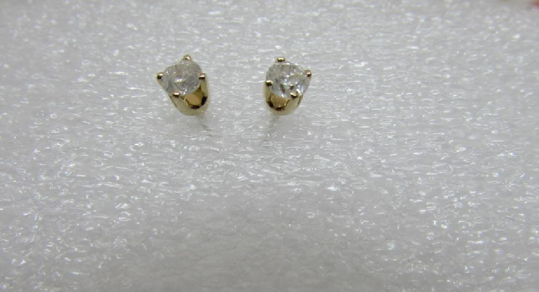 .25CT DIAMOND STUD EARRINGS 14K GOLD SCREWBACK - 3