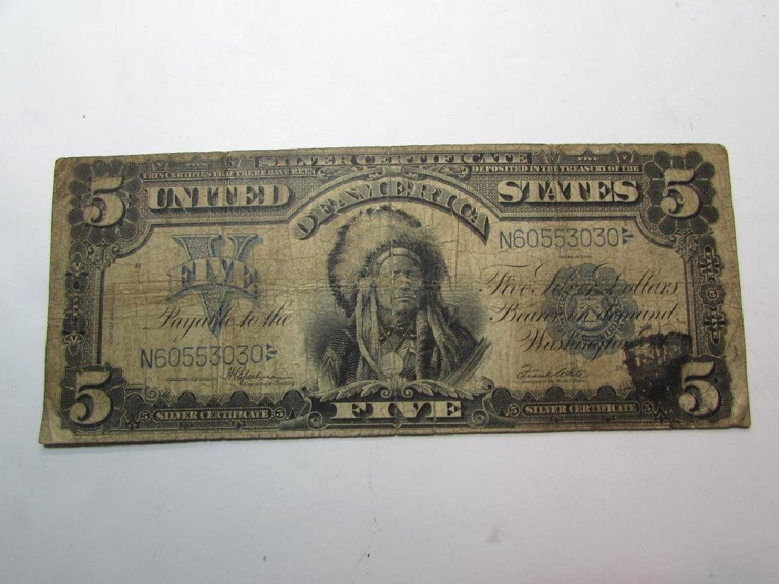 1899 US $5 SILVER CERTIFICATE LARGE NOTE CHIEF