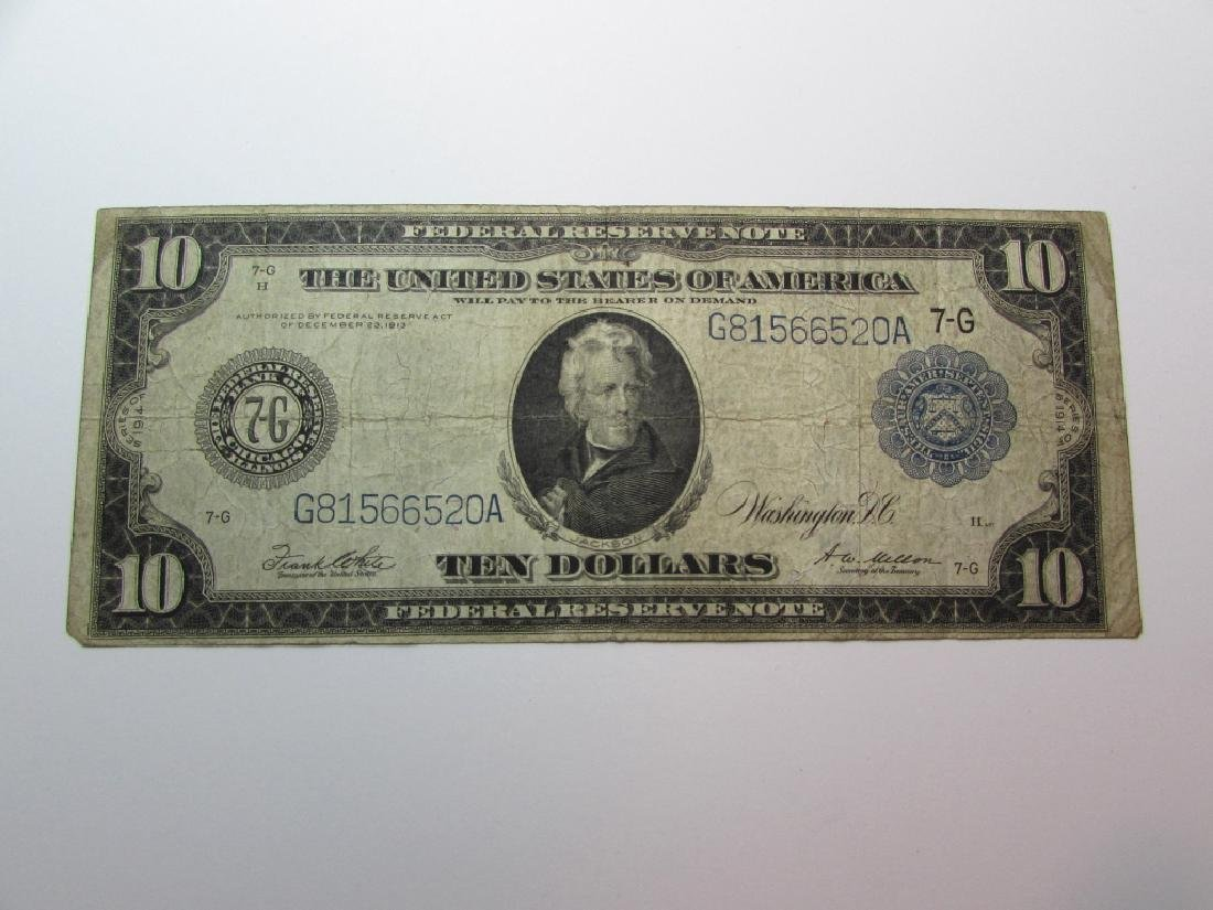 1914 US LARGE $10 FEDERAL RESERVE NOTE