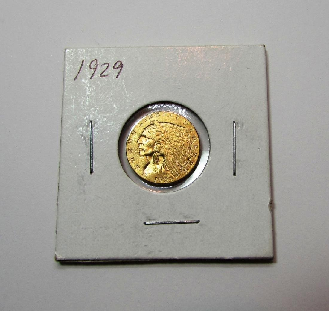 1929 $2.5 US GOLD COIN INDIAN HEAD