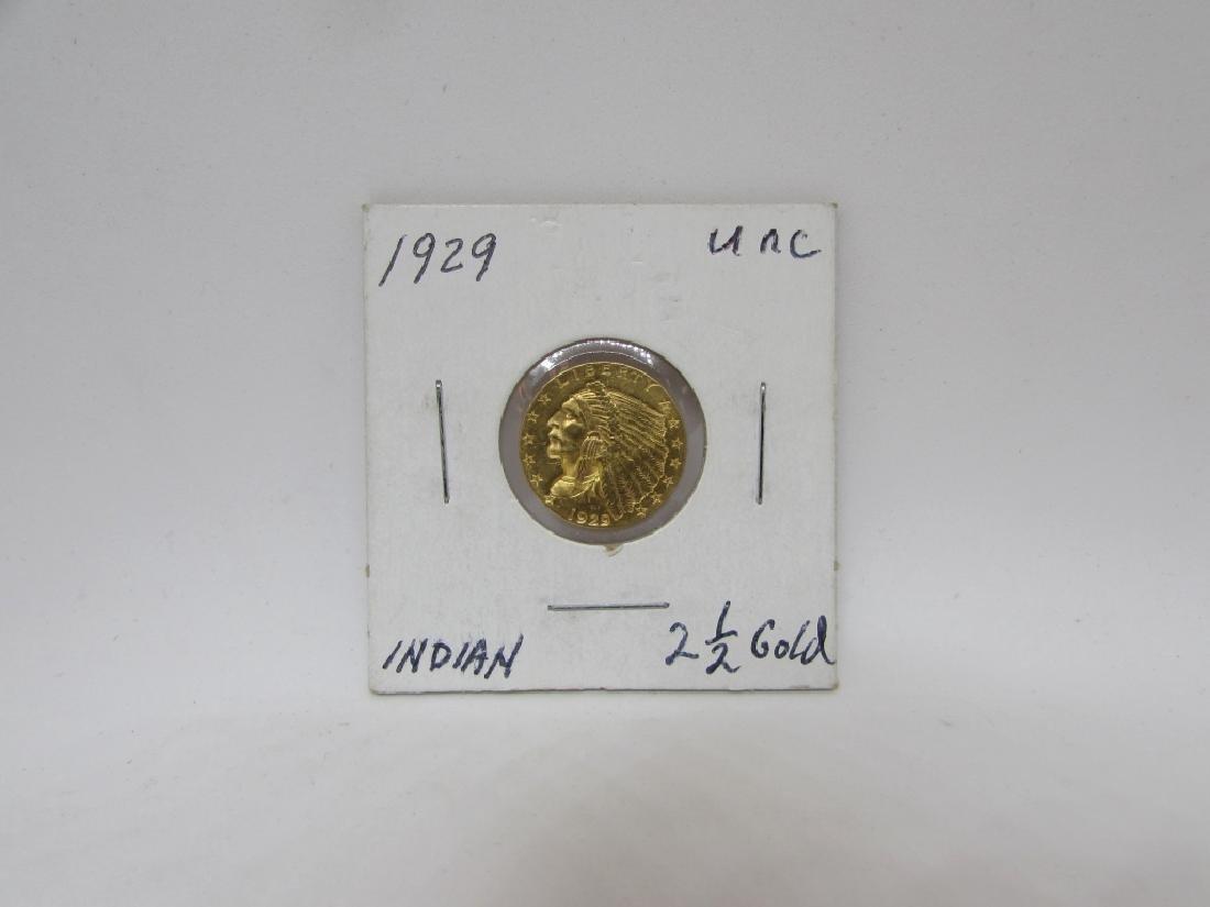 1929 UNC $2.5 US GOLD COIN INDIAN QUARTER EAGLE