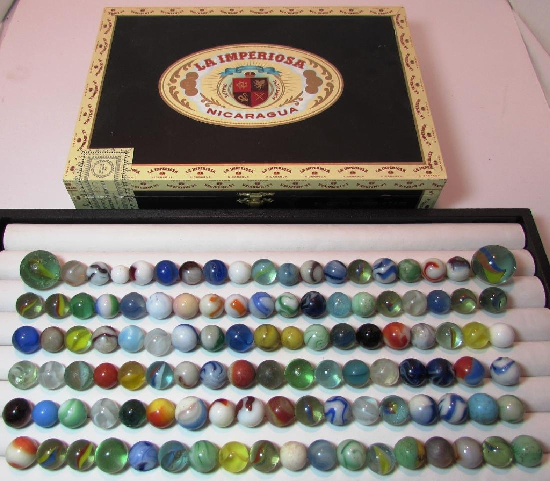 100+ LOT OF ANTIQUE/VINTAGE MARBLES IN CIGAR BOX
