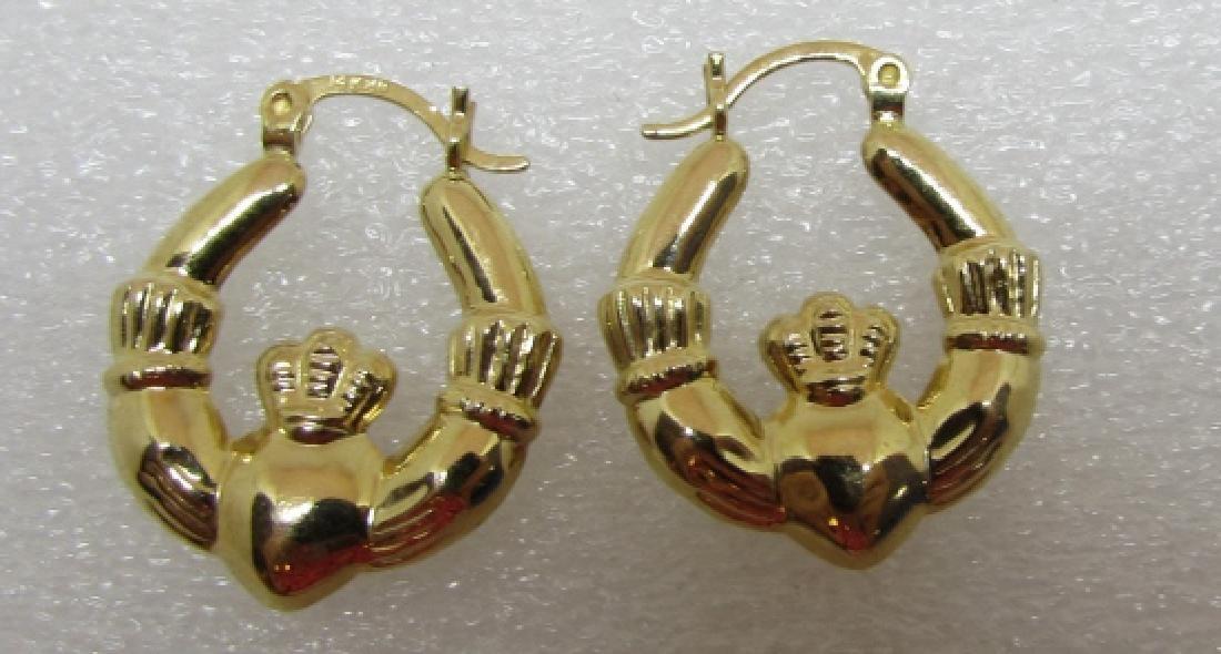 CLADDAGH HOOP EARRINGS 14K GOLD IRISH LOVE