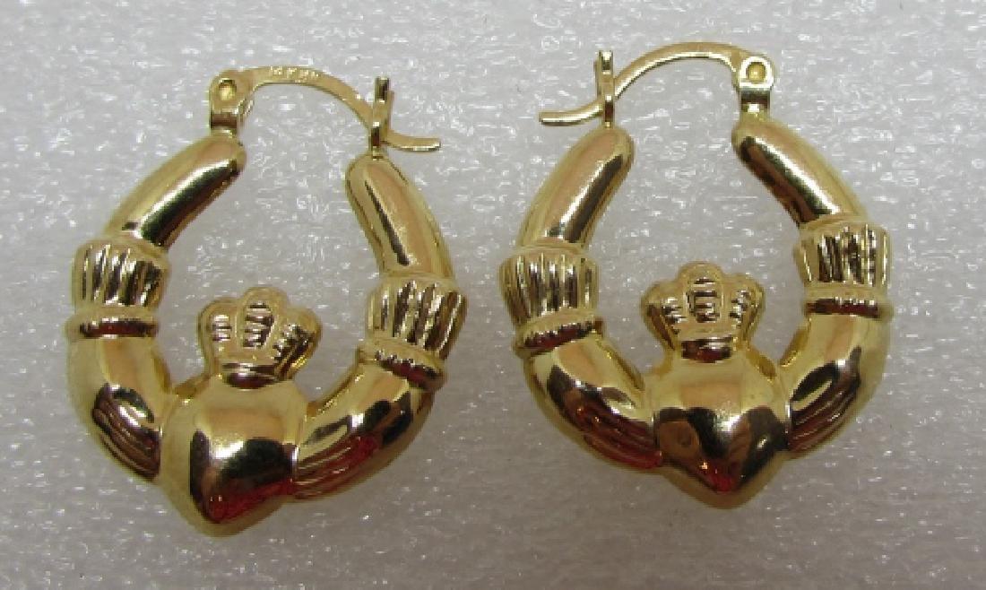 CLADDAGH HOOP EARRINGS 14K GOLD IRISH LOVE - 2