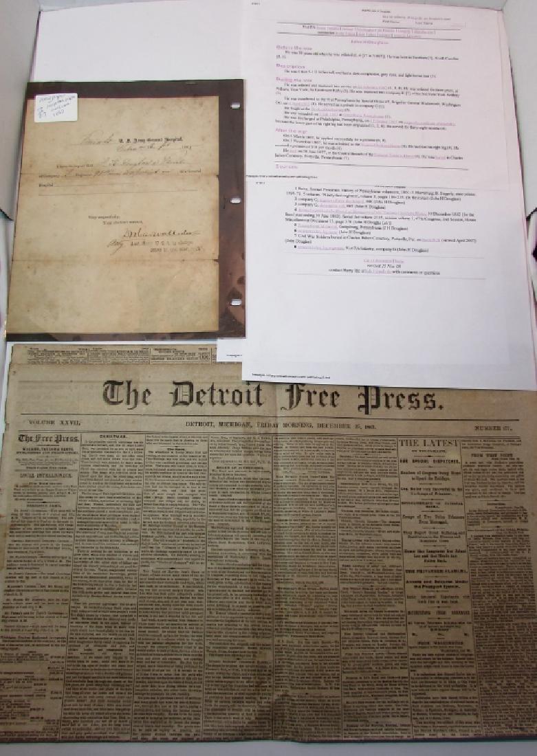 CIVIL WAR NEWSPAPER & HOSPITAL RELEASE 1863 '65