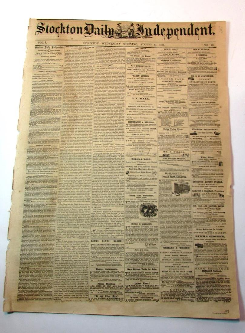 CIVIL WAR STOCKTON DAILY INDEPENDENT NEWSPAPER '61