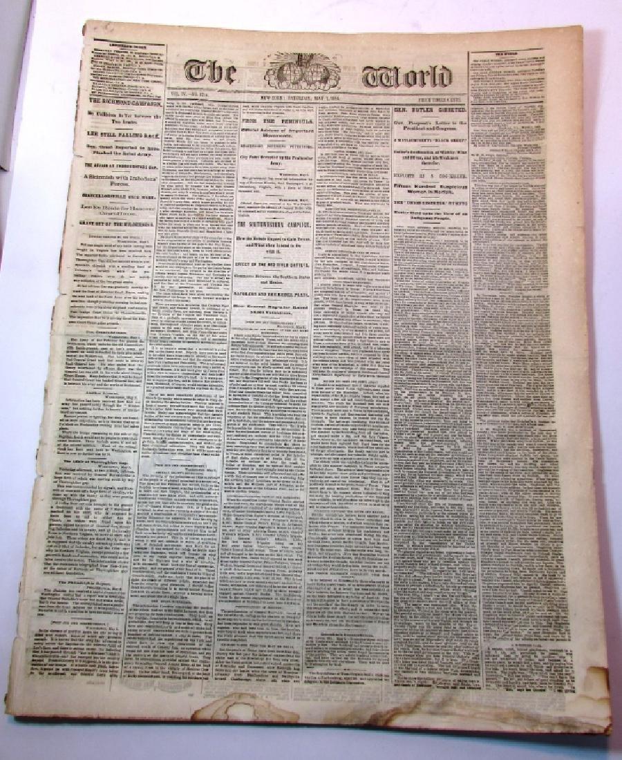 CIVIL WAR ERA THE WORLD 1864 NEWSPAPER