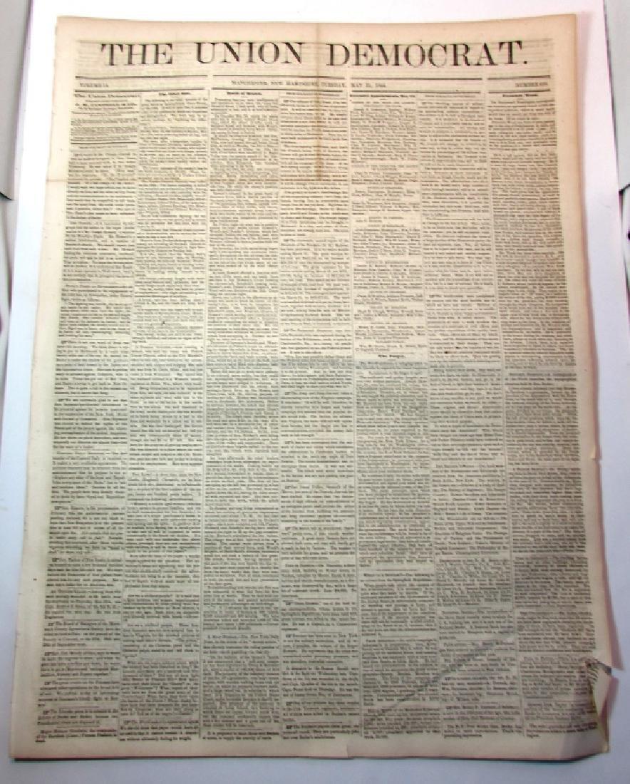 CIVIL WAR ERA UNION DEMOCRAT 1864 NEWSPAPER NH