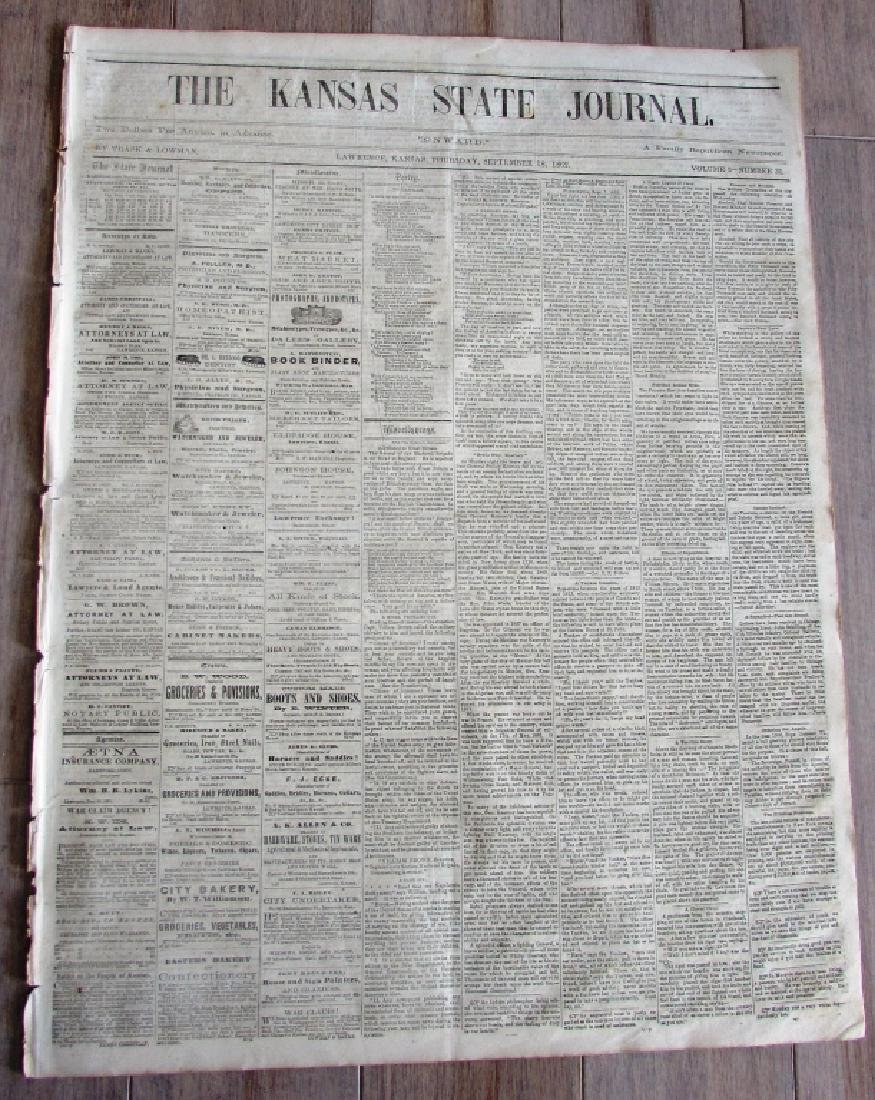 CIVIL WAR NEWSPAPER 1862 THE KANSAS STATE JOURNAL