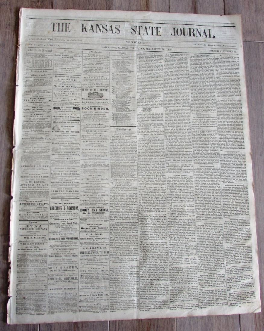 CIVIL WAR NEWSPAPER 1862 THE KANSAS STATE JOURNAL