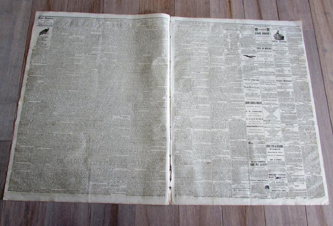 CIVIL WAR NEWSPAPER 1862 THE KANSAS STATE JOURNAL - 2