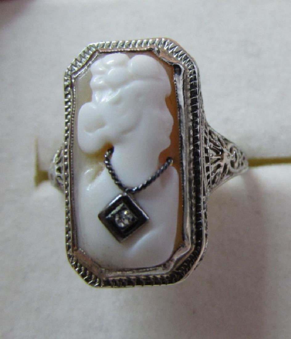 CAMEO DIAMOND FILIGREE RING 14K GOLD EDWARDIAN