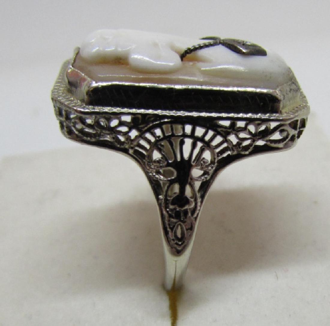CAMEO DIAMOND FILIGREE RING 14K GOLD EDWARDIAN - 3